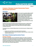 Evaluation News: Evaluation of Workplace Cessation Demonstration Projects - Manufacturing Organizations