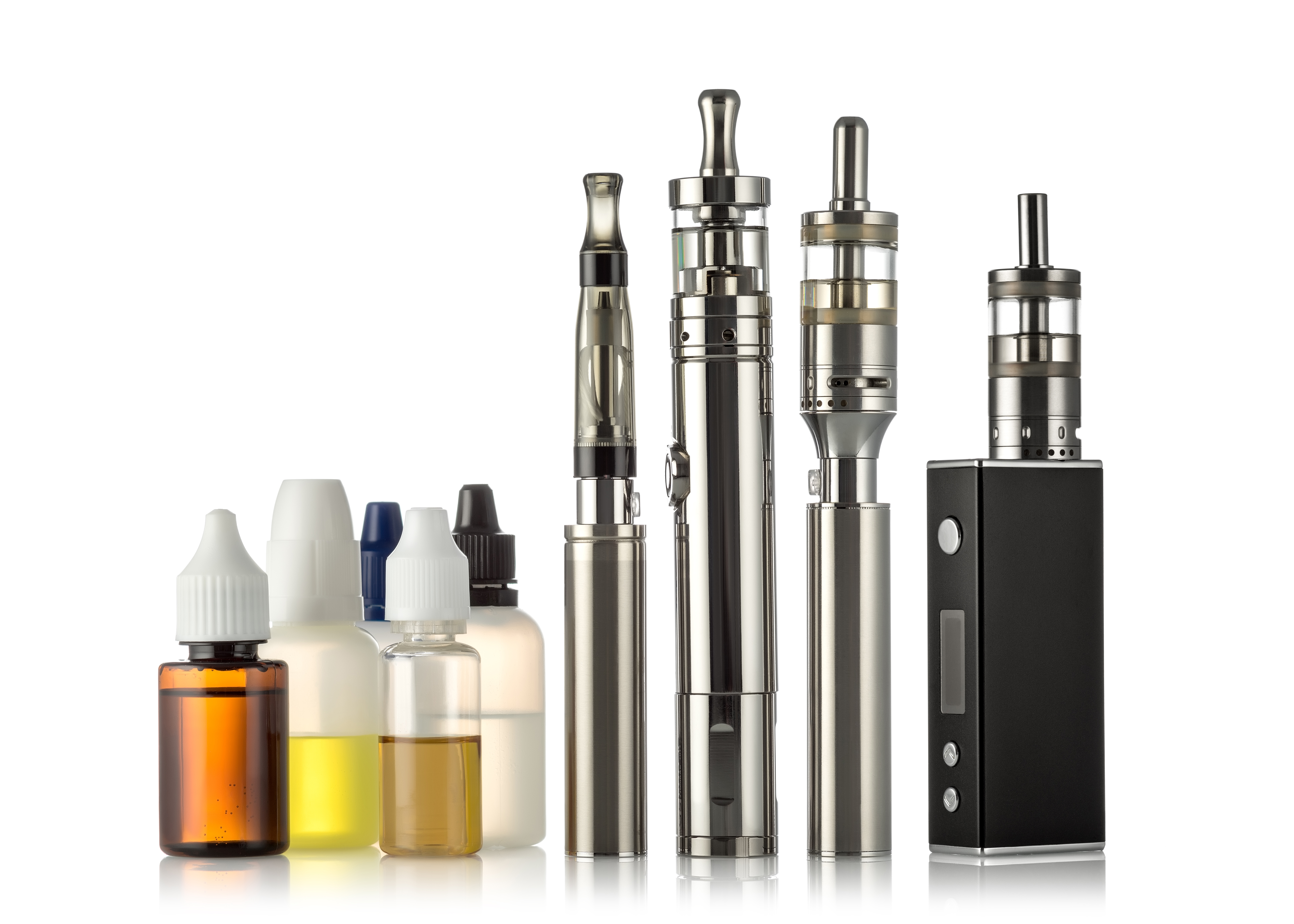 collection of ecigarettes and ejuice